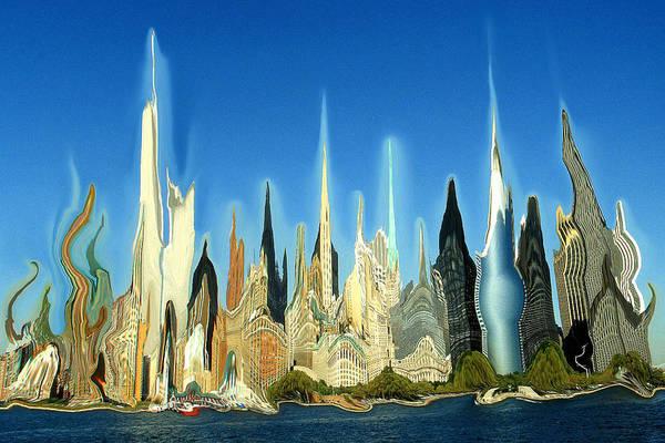 New York City Skyline 2100 - Modern Artwork Poster