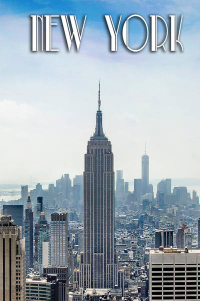 New York Classic View With Text Poster