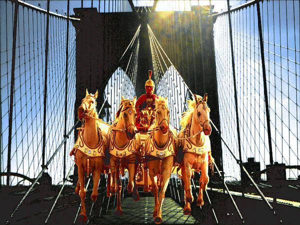 New York Brooklyn Bridge Fantasy Collage Poster