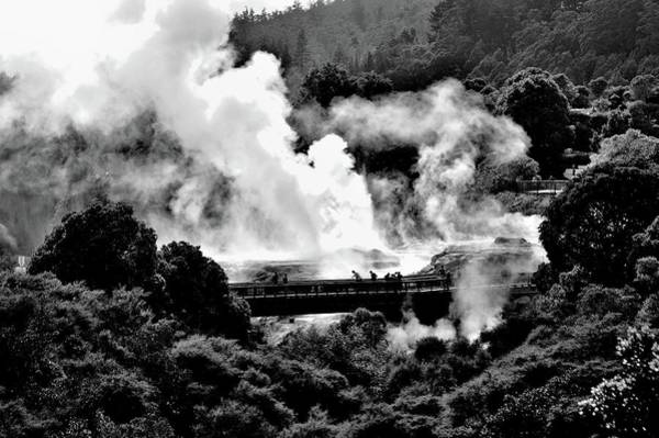 New Zealand - Figures Against Hot-steam - Black And White Poster
