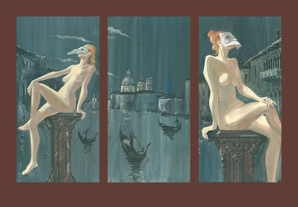 Night In Venice. Triptych Poster