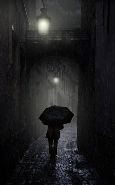 Night Walk In The Rain Poster
