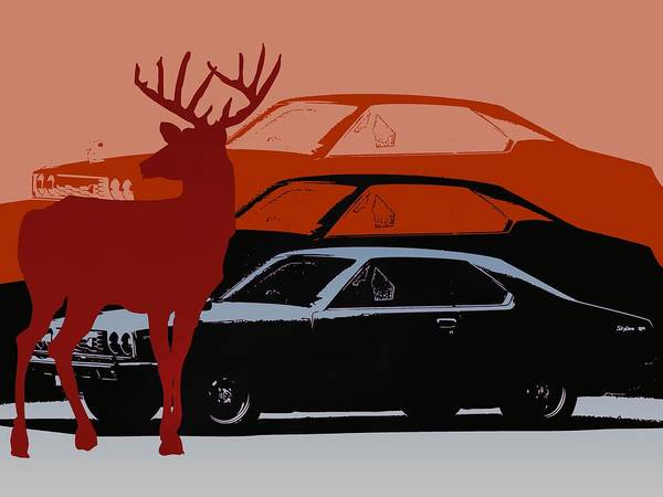 Nissan 210 With Deer 3 Poster