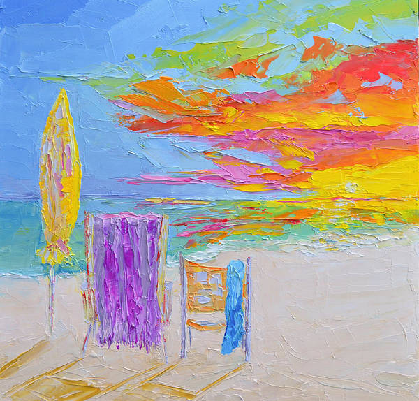 No Need For An Umbrella - Sunset At The Beach - Modern Impressionist Knife Palette Oil Painting Poster