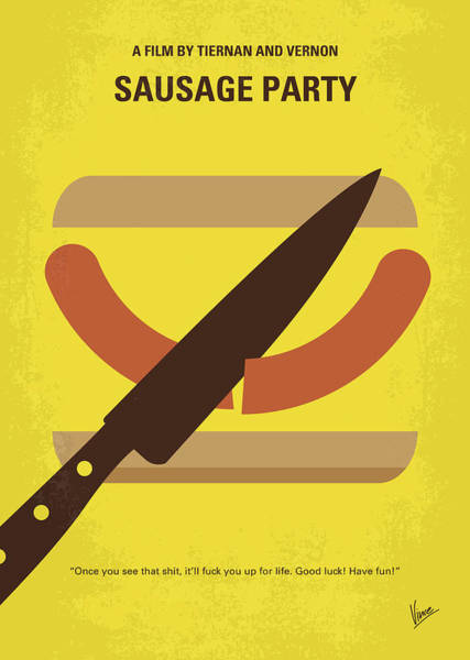 No704 My Sausage Party Minimal Movie Poster Poster