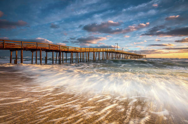 North Carolina Outer Banks Nags Head Pier Seascape At Sunrise Poster