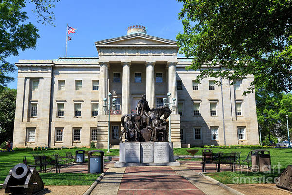 North Carolina State Capitol Building With Statue Poster