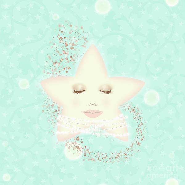 North Star, Serene Smiling Star Wearing Celestial Pearls Poster