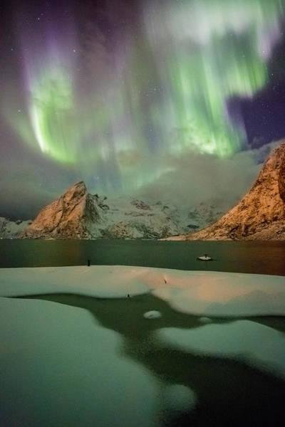 Northern Lights Above Olstinden Poster