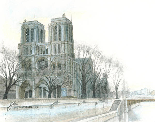 Poster featuring the painting Notre Dame Cathedral In March by Dominic White