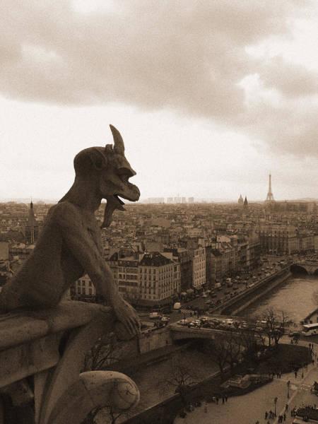 Notre Dame Gargoyle Over Paris Poster