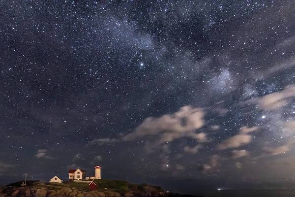 Nubble Lighthouse Under The Milky Way Poster