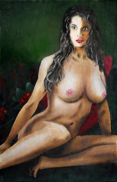 Nude Female Portrait Jean Seated Poster