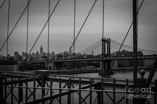 Ny Skyline From Brooklyn Bridge Poster