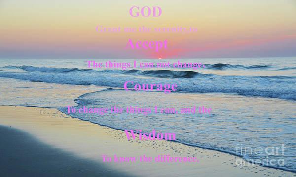 Ocean Sunrise Serenity Prayer Poster