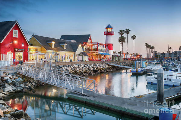 Oceanside Harbor Village At Dusk Poster