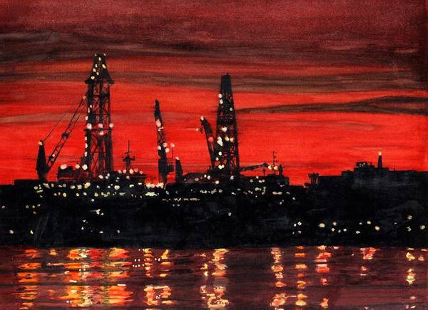 Poster featuring the painting Oil Rigs Night Construction Portland Harbor by Dominic White