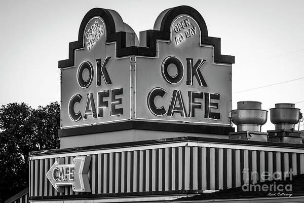 Ok Cafe Neon 2 B W Atlanta Classic Landmark Restaurant Art Poster