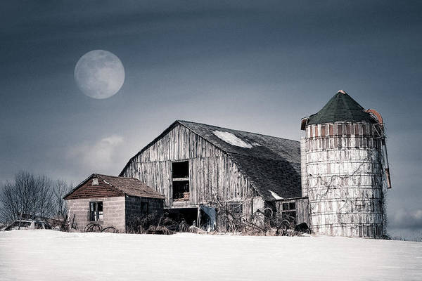 Old Barn And Winter Moon - Snowy Rustic Landscape Poster