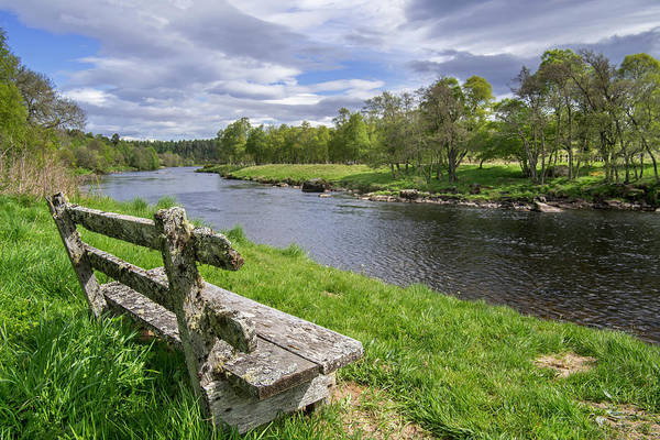 Old Bench Along Spey River, Scotland Poster