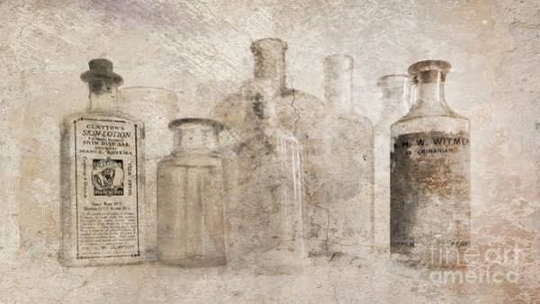 Old Bottles With Texture Poster