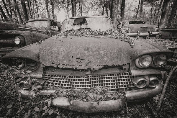 Old Car City In Black And White Poster