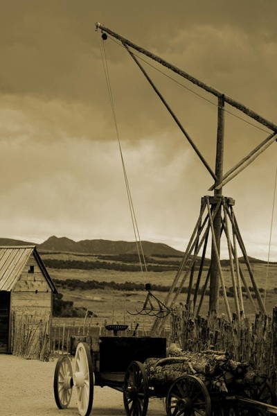 Old Crane And Shed Utah Countryside In Sepia Poster
