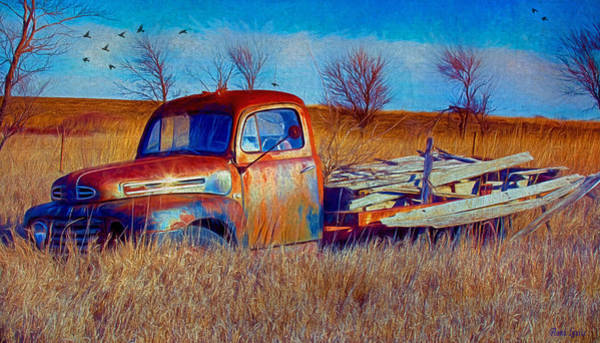Old Ford F5 Truck Abandoned In Field Poster