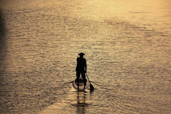Old Man Paddling Into The Sunset Poster