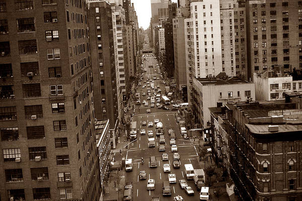 Old New York Photo - 10th Avenue Traffic Poster