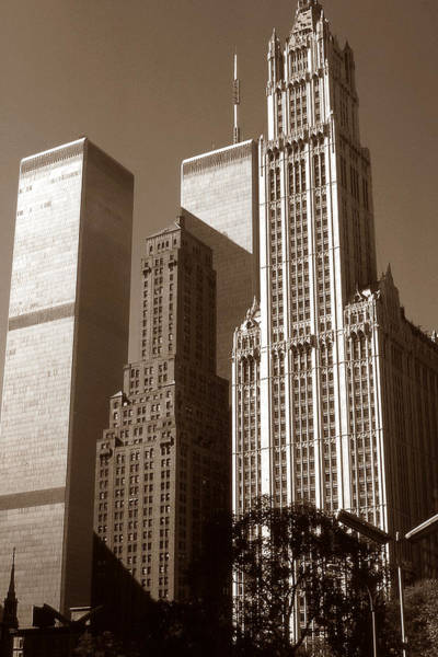 Old New York Photo - Woolworth Building And World Trade Center Poster