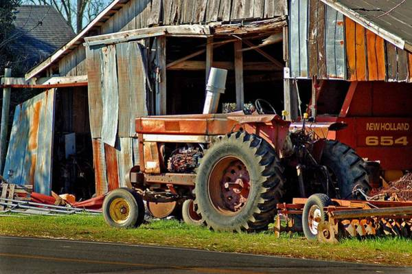 Old Red Tractor And The Barn Poster