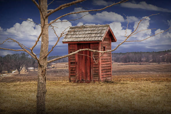 Old Rustic Wooden Outhouse In West Michigan Poster