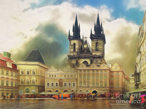 Old Town Square Prague In The Rain Poster