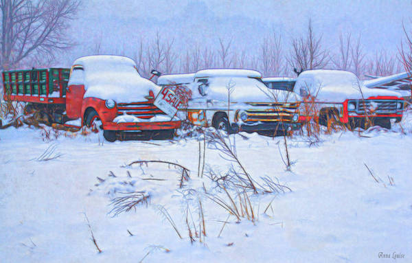 Old Trucks In Snow Poster