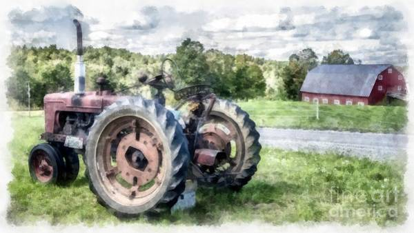 Old Vintage Tractor On The Farm Poster