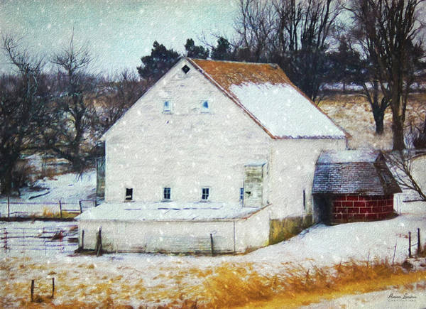 Old White Barn In Snow Poster