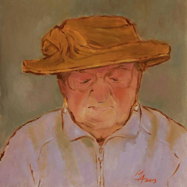 Old Woman With Yellow Hat Poster