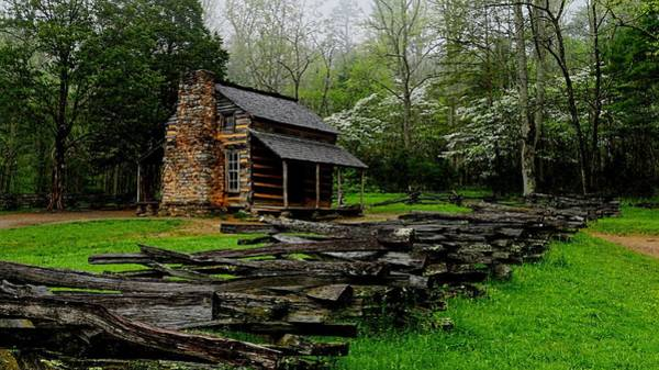 Oliver's Cabin Among The Dogwood Of The Great Smoky Mountains National Park Poster