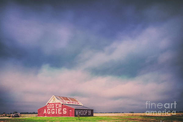 Ominous Clouds Over The Aggie Barn In Reagan, Texas Poster