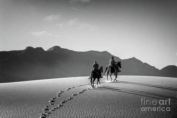On Horseback At White Sands Poster
