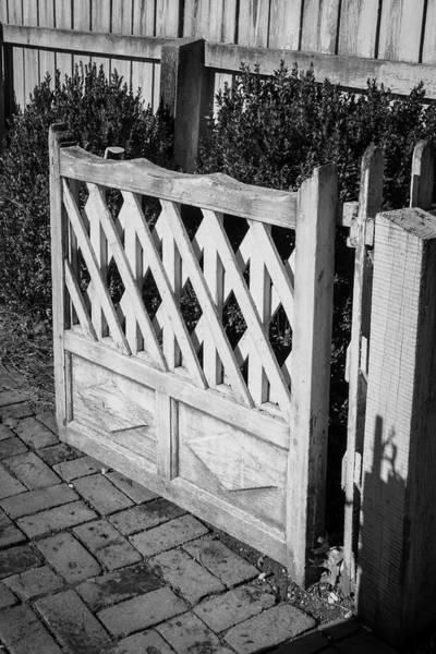Open Garden Gate B W Poster
