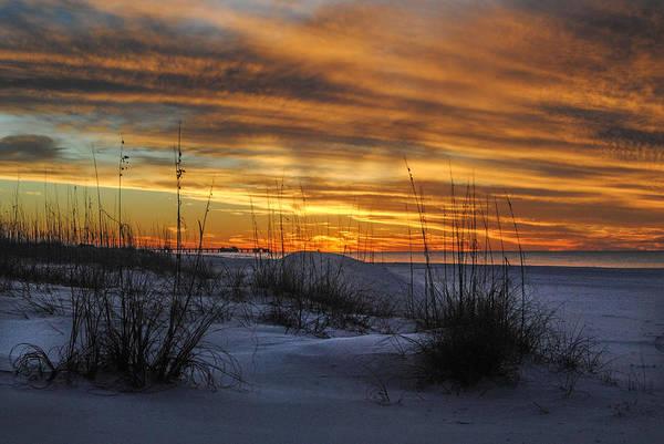 Orange Clouded Sunrise Over The Pier Poster