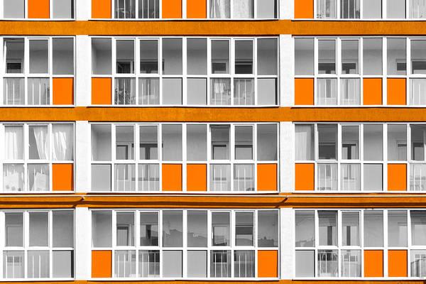 Orange Exterior Decoration Details Of Modern Flats Poster