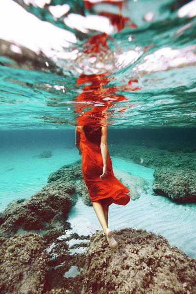 Orange Mermaid Poster