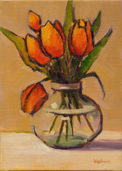 Poster featuring the painting Orange Tulips by Konnie Kim