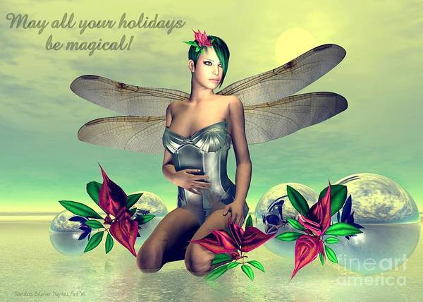 Poster featuring the digital art Orchid Faerie Holiday Card by Sandra Bauser Digital Art