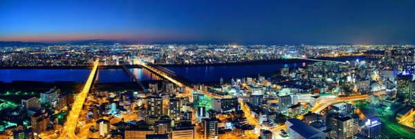 Osaka Night Rooftop View Poster
