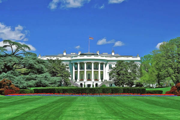Poster featuring the painting Our White House by Harry Warrick