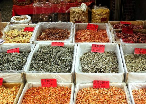 Outdoor Market For Dried Seafood Poster
